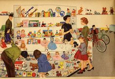 Lovely Illustration of a Retro Toy Department Art Vintage, Vintage Cards, Vintage Images, Vintage Prints, Vintage Toys, Vintage Posters, Norman Rockwell, Vintage Housewife, Retro Toys