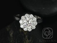 Blossom 6.5mm 14kt White Gold Round FB Moissanite and Diamonds Flower Halo Engagement Ring (Other metals/stone available) by RosadosBox on Etsy https://www.etsy.com/sg-en/listing/241592496/blossom-65mm-14kt-white-gold-round-fb