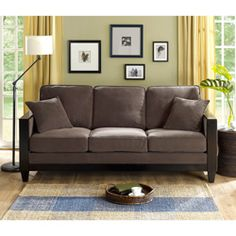 @Overstock - With the plush feel of its six cushions with cord-trim embellishment, your family will love curling up on this comfortable charcoal sofa. Its generous size includes a rich wood frame, tapered block legs, and two decorative throw pillows.http://www.overstock.com/Home-Garden/Charcoal-Brooks-Sofa/4754978/product.html?CID=214117 $469.99