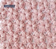 Crochet Flower Puff Stitch Pattern: diagram + step by step instructions over at My Picot