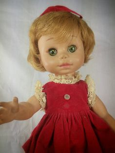 "1964 Vogue Doll 11 ""  Red Dress Vintage Adorable rubber doll"