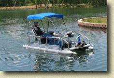 Fish N Sport 510 Pontoon Boats Mid Mini Pontoon Boat Compact Small Aluminum Marine Inflatable Rescue Bass Crappie Catfish Fish Trolling Lake...