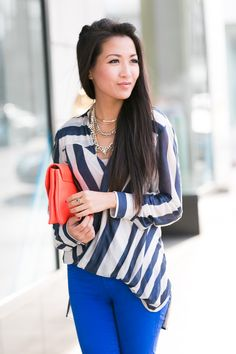 Blue pants + Navy and white striped top | Wendy's Lookbook