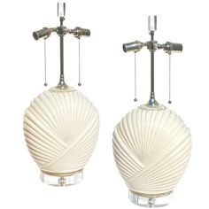 Shell Form Lamps in Cream | From a unique collection of antique and modern table lamps at https://www.1stdibs.com/furniture/lighting/table-lamps/
