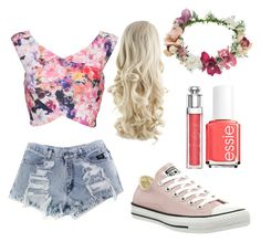 """""""Pink pansies"""" by llamb310 ❤ liked on Polyvore featuring Topshop, Converse, Essie and Christian Dior"""