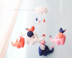 Elephant and Birds Baby Mobile Pink Navy by AContinualLullaby
