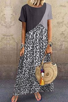 Casual Animal Printed Patchwork Dress Fashion girls, party dresses long dress for short Women, casual summer outfit ideas, party dresses Fashion Trends, Latest Fashion # Vintage Dresses, Nice Dresses, Casual Dresses, Ladies Dresses, Maxi Dresses, Party Dresses, Mode Outfits, Fashion Outfits, Dress Fashion