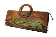Wooden handle bag Silk bag Evening clutch wooden bag