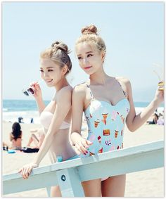 chuu - Ice-cream Pattern Swimsuit