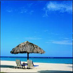Blue sky and water as far as the eye can see when lounging on the private beach at Jamaica Inn. #IwishIwasatJamaicaInn http://jamaicainn.com/resort/beach.php