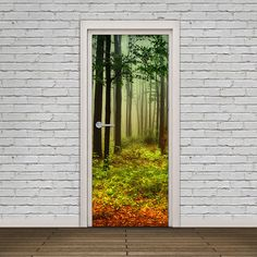 Door Sticker - Self Adhesive Vinyl Wrap - Warm and Misty Autumn Forest