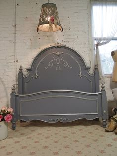 Painted Cottage Shabby Slate Grey Romantic Bed by paintedcottages. I would love this beautiful romantic bed in my bedroom! Painted Beds, Hand Painted Furniture, Paint Furniture, Repurposed Furniture, Shabby Chic Furniture, Furniture Makeover, Furniture Design, Muebles Shabby Chic, Antique Beds