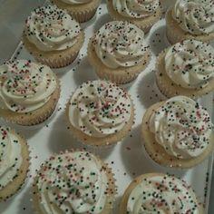 Vanilla cupcake filled with vanilla whipped cream *