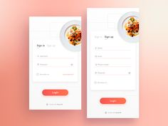 Recipes App - Concept login designed by Diego Limonchy. Connect with them on Dribbble; Login Page Design, App Ui Design, User Interface Design, Website Design Inspiration, Ui Inspiration, App Login, Android App Design, Mobile Ui Design, Ui Web