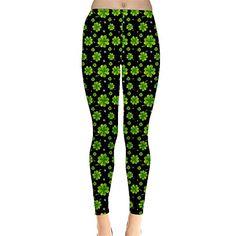 001c249010b4de CowCow Womens Green Shamrock Pattern Black Leggings