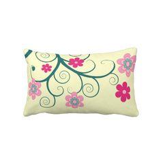 Retro, pink flowers on cream  pillow