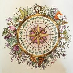 My compass from Enchanted Forest. I tried to use limited shades of green, purple…