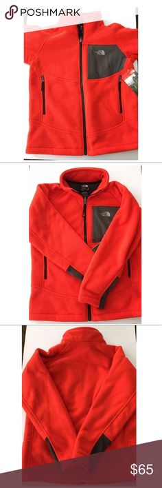 The North Face youth boys Chimborazo fleece zip up Youth boy's Chimborazo full zip fleece  Color: Fiery red  100% polyester  Size XL (18/20)  Condition: New with tags!    Comes from a smoke free home.  Stock #: AR8-123-129 The North Face Jackets & Coats