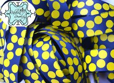 Yellow silly dots printed on navy blue 7/8  by ribbonrevelry, $1.65
