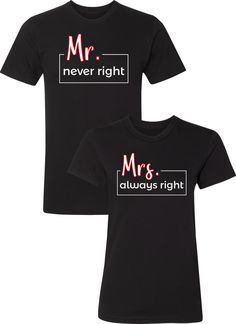 409a0fa9 Mr. Never Right Mrs. Always Right Shirts / Matching Couples Apparel / Matching  Couples