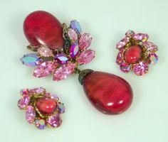Regency Rose and Pink Rhinestone Dangle Set