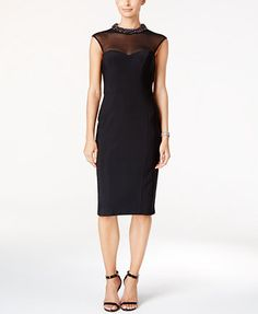 Xscape Beaded Illusion Bodycon Dress | macys.com
