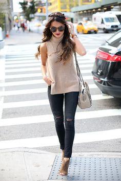 Turtleneck sweater tank + distressed black skinny jeans + peep toe booties
