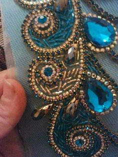 Beaded Embroidery, Embroidery Ideas, Party Wear, Sequins, Beads, Detail, Chic, Earrings, Payet