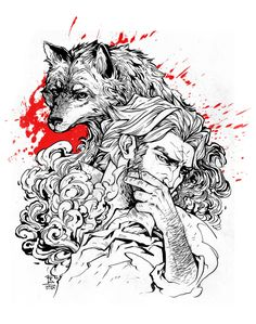 Writing World - lorna-ka: My ink always looks like shit scanned The Wolf Among Us, Sketch Tattoo Design, Nordic Tattoo, Big Bad Wolf, Smoke And Mirrors, Werewolf, Game Art, Coloring Pages, Fantasy Art