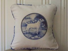 shabby chic Bull Terrier pillow sham by kreativbyerika, $30.00