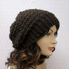 hat patterns crochet free  | Brown Slouchy Crochet Hat - Womens Slouch Beanie - Oversized Cap ...