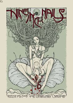 Nine Inch Nails New metal rock psychedelic music poster  ☮~ღ~*~*✿⊱  レ o √ 乇 !! ~