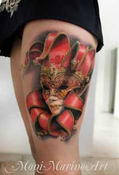 Leading Tattoo Magazine & Database, Featuring best tattoo Designs & Ideas from around the world. At TattooViral we connects the worlds best tattoo artists and fans to find the Best Tattoo Designs, Quotes, Inspirations and Ideas for women, men and couples. Venetian Mask Tattoo, Venetian Masks, Masquerade Mask Tattoo, 3d Tattoos, Tatoos, Artistic Tattoos, Wicked Tattoos, Crazy Tattoos, Female Tattoos