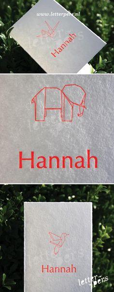 letterpers_letterpress_geboortekaartje_hanna_origami_beestjes_fluor_oranje_roze