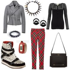 Featured in this Outfit Jennifer Loiselle Lips hoop perspex e... $93 Spike Bracelet spike bracelet $14 Small Folder Leather Bag by Thom Brow... by Thom Browne$1,650 Spike Collar Necklace by Eddie Borgo$942 Emporio Watch Emporio Official Online... by Emporio Armani$295 Denim & Supply Black Lace Henley Top by Ralph Lauren$87 Italian Wedges, black suede by Modern Vice$250 Neoprene Biker Jacket by Josh Goot No... by Josh Goot$1,470 Skinny Wool Tartan Plaid Pants Now Av... by Moschino$525…