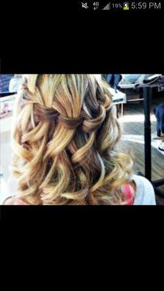 Waterfall braid prom hairstyle