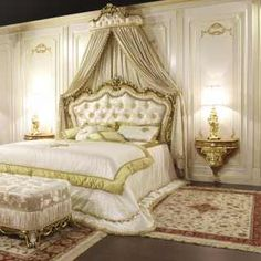 Classic bed baroque style with carved headboard capitonné silk and matched wall tester Royal Bedroom, Bedroom Art, Bedroom Kids, Modular Furniture, Luxury Furniture, Classic Bedroom Furniture, Bedroom Fireplace, Luxurious Bedrooms, Luxury Bedrooms