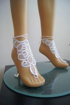 LUX Wedding White Lace Jewelry Barefoot #gift #shopping #etsy #ocean #accessory #sale  #handmade #shoes #bracelet #necklace #earrings #women #wedding