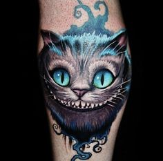 Cool Blue Alice and Wonderland Tattoo #cheshirecat #cattattoo #creativetattoo #aliceandwonderland