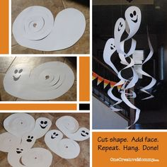 Frugal Decorating for Halloween {Cardboard Spinning Ghosts} - onecreativemommy. - Frugal Decorating for Halloween {Cardboard Spinning Ghosts} - onecreativemommy. Deco Haloween, Theme Halloween, Homemade Halloween, Halloween Crafts For Kids, Halloween Birthday, Halloween Projects, Diy Halloween Decorations, Holidays Halloween, Holiday Crafts