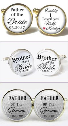 Groomsmen or father of the bride wedding gift idea: personalized cufflinks. My favorites are these kinds with the mixed fonts, and I like that they will make the middle and bottom ones with any custom message or photo you want. There are links to these on the page.