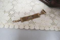 Antique Watch Fob W Rose Rolled Gold Greek Key Design by KansasKardsStudio on Etsy