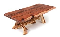 This beautiful log dining table features a solid wood live edge slab and a handcrafted juniper log base for cabin, lodge & rustic decors. Made custom sizes USA