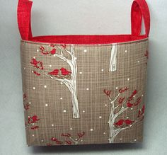 Small Fabric Storage Bin Organizer Tote in Snowy by BagsOfaFeather