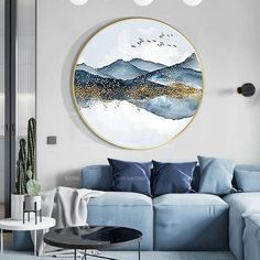 Original Mountain cloud Acrylic Paintings On Canvas Framed Chinese style Extra Large ready to hang Wall Decor Modern art cuadros abstractos Round Canvas, Modern Wall Decor, Modern Art, Large Painting, China Painting, Resin Art, Chinese Style, Canvas Frame, Room Decor