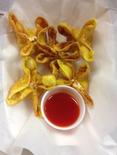 Crab Rangoons...Sweet Sour Dipping Sauce...Awesome!