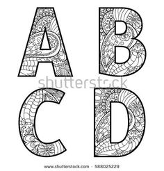 Set of vector big letters with pattern doodle. Coloring Letters, Alphabet Coloring Pages, Coloring Pages To Print, Colouring Pages, Coloring Books, Doodle Alphabet, Alphabet Art, Letter Art, Doodle Art