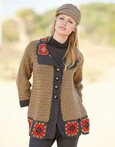 pattern knit crochet woman jacket autumn winter katia 6791 9 g Gilet Crochet, Crochet Coat, Crochet Winter, Crochet Jacket, Crochet Cardigan, Crochet Granny, Crochet Shawl, Crochet Clothes, Laine Katia