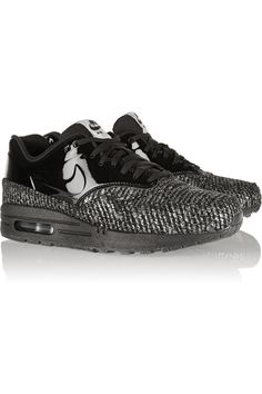 108577b107e3e Nike - Air Max 1 metallic bouclé and patent-leather sneakers