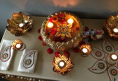 Beautiful lotus candles with rangoli table setup Ethnic Home Decor, Lord Krishna, Ornament Wreath, Lotus, Bling, Candles, Decoration, Table, Gifts